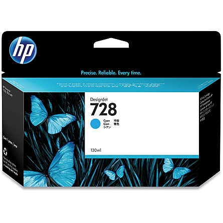 Mực In Phun HP 728 130-ml Cyan DesignJet Ink Cartridge (F9J67A)