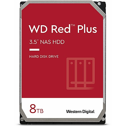 "Ổ Cứng HDD 3.5"" WD Red Plus 8TB NAS SATA 5400RPM 256MB Cache (WD80EFAX)"