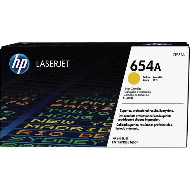 Mực In Laser Màu HP 654A Yellow Original LaserJet Toner Cartridge (CF332A)