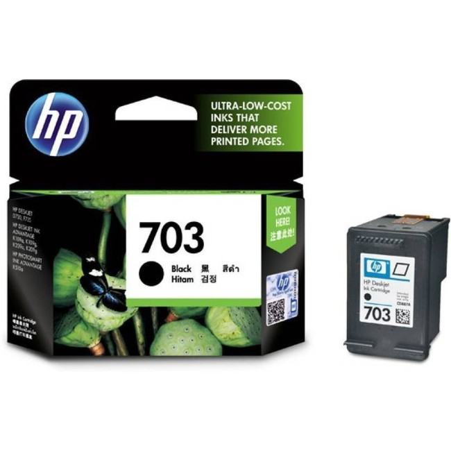 HP 703 Black Original Ink Advantage Cartridge(CD887AA)