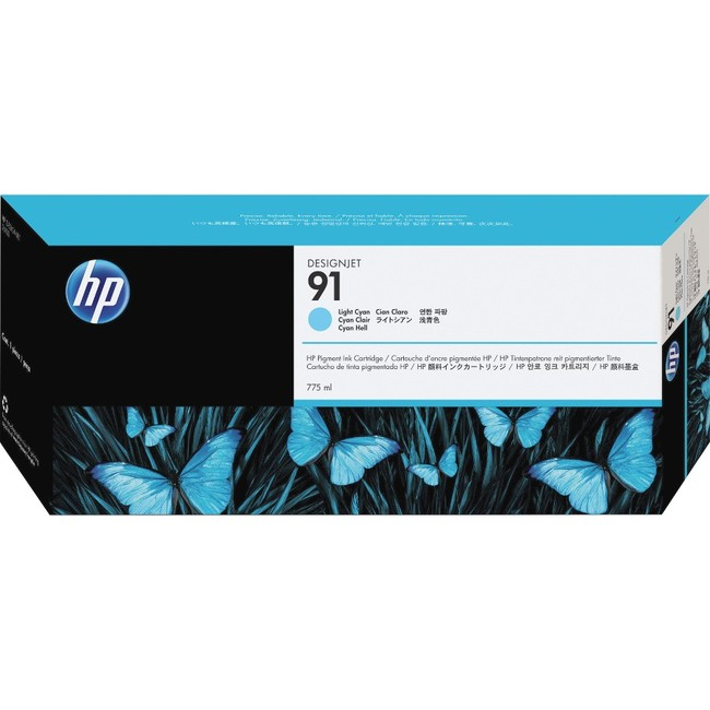 HP 91 775-ml Light Cyan DesignJet Pigment Ink Cartridge (C9470A)