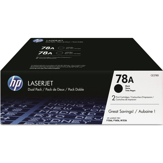 HP 78A 2-pack Black Original LaserJet Toner Cartridges (CE278AD)