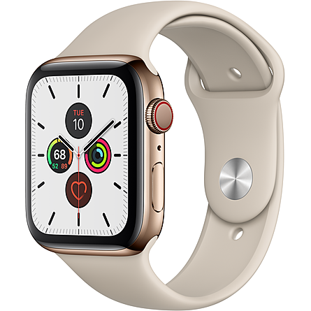 Apple Watch Series 5 GPS + Cellular 44mm Viền Thép Dây Cao Su (MWWH2VN/A)